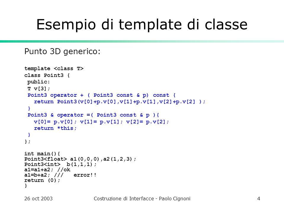 26 oct 2003Costruzione di Interfacce - Paolo Cignoni5 Template Osservazioni Notare che la definizione di una funzione template è simile ad una macro, nel senso che la funzione template non è ancora codice, ma lo diventerà una volta che essa viene usata Il fatto che il compilatore generi codice concreto solo una volta che una funzione è usata ha come conseguenza che una template function non può essere mai raccolta in una libreria a run time Un template dovrebbe essere considerato come una sorta di dichiarazione e fornito in un file da includere.
