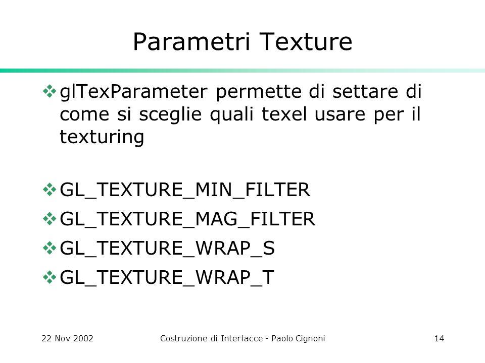 22 Nov 2002Costruzione di Interfacce - Paolo Cignoni14 Parametri Texture glTexParameter permette di settare di come si sceglie quali texel usare per i