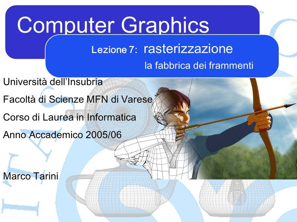 Computer Graphics Marco Tarini Università dellInsubria Facoltà di Scienze MFN di Varese Corso di Laurea in Informatica Anno Accademico 2005/06 Lezione 7: rasterizzazione la fabbrica dei frammenti