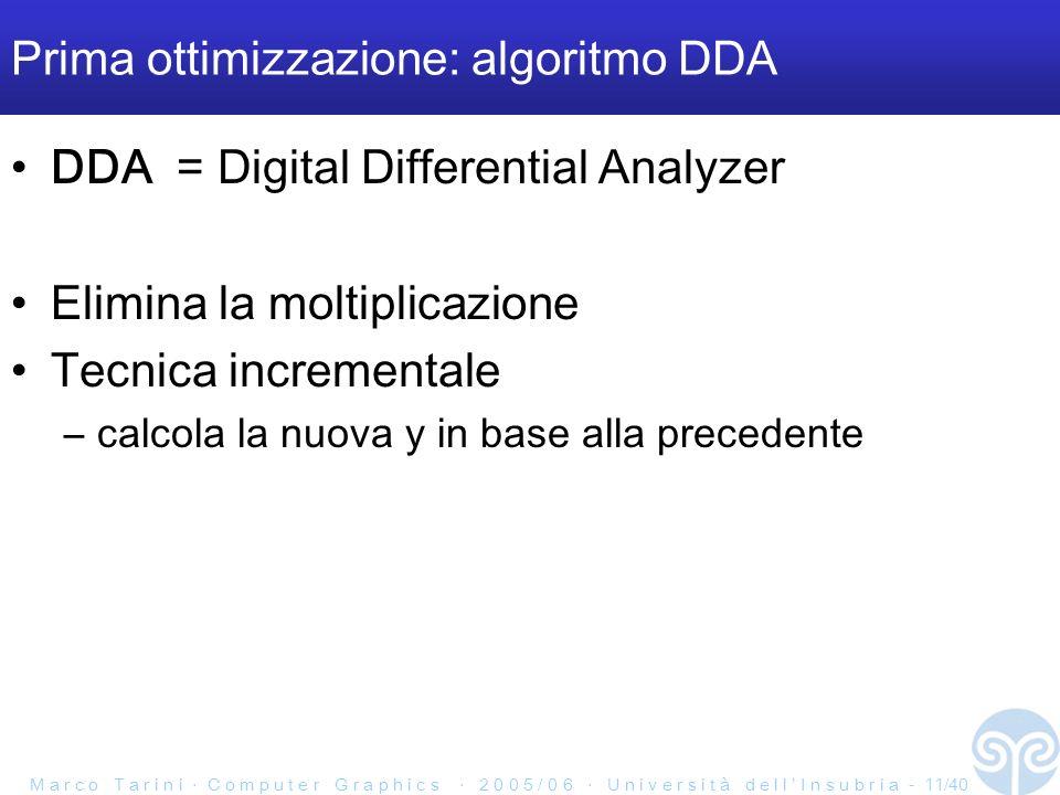 M a r c o T a r i n i C o m p u t e r G r a p h i c s 2 0 0 5 / 0 6 U n i v e r s i t à d e l l I n s u b r i a - 11/40 Prima ottimizzazione: algoritmo DDA DDA = Digital Differential Analyzer Elimina la moltiplicazione Tecnica incrementale –calcola la nuova y in base alla precedente