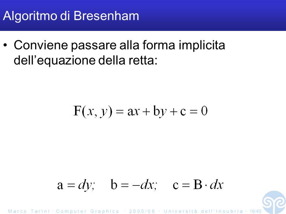 M a r c o T a r i n i C o m p u t e r G r a p h i c s 2 0 0 5 / 0 6 U n i v e r s i t à d e l l I n s u b r i a - 19/40 Algoritmo di Bresenham Conviene passare alla forma implicita dellequazione della retta: