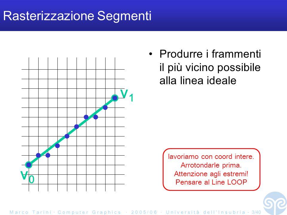 M a r c o T a r i n i C o m p u t e r G r a p h i c s 2 0 0 5 / 0 6 U n i v e r s i t à d e l l I n s u b r i a - 4/40 Rasterizzazione di segmenti Vogliamo avere la sequenza di frammenti che –approssimi al meglio il segmento e quindi –sia il più in linea retta possibile