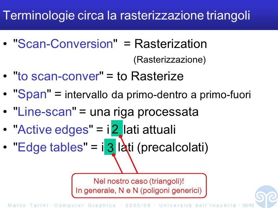 M a r c o T a r i n i C o m p u t e r G r a p h i c s 2 0 0 5 / 0 6 U n i v e r s i t à d e l l I n s u b r i a - 39/40 Scan-Conversion = Rasterization (Rasterizzazione) to scan-conver = to Rasterize Span = intervallo da primo-dentro a primo-fuori Line-scan = una riga processata Active edges = i 2 lati attuali Edge tables = i 3 lati (precalcolati) Terminologie circa la rasterizzazione triangoli 3 2 Nel nostro caso (triangoli).