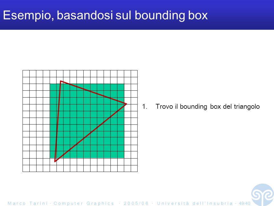 M a r c o T a r i n i C o m p u t e r G r a p h i c s 2 0 0 5 / 0 6 U n i v e r s i t à d e l l I n s u b r i a - 49/40 Esempio, basandosi sul bounding box 1.Trovo il bounding box del triangolo