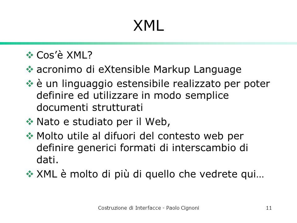 Costruzione di Interfacce - Paolo Cignoni11 XML Cosè XML.