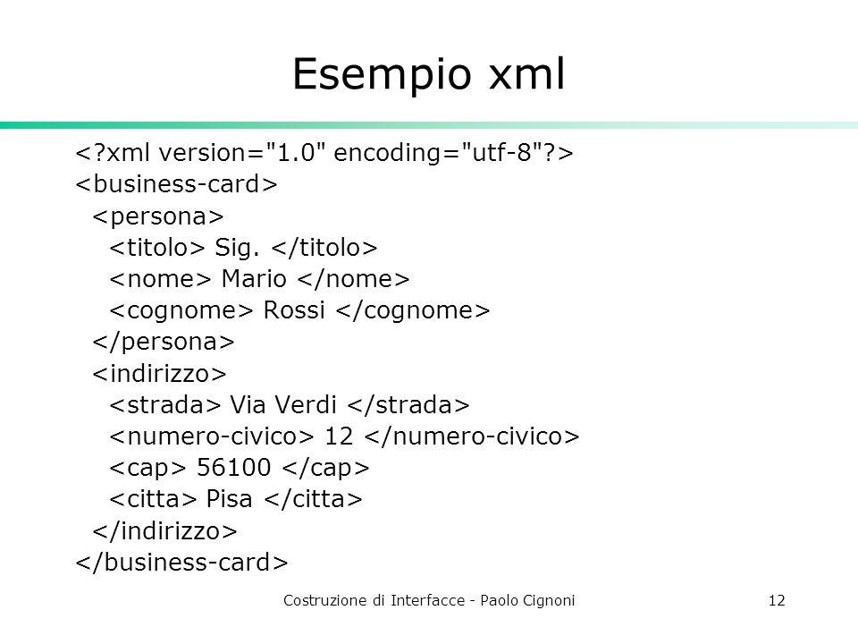 Costruzione di Interfacce - Paolo Cignoni12 Esempio xml Sig. Mario Rossi Via Verdi 12 56100 Pisa