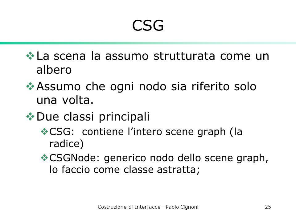 Costruzione di Interfacce - Paolo Cignoni25 CSG La scena la assumo strutturata come un albero Assumo che ogni nodo sia riferito solo una volta.