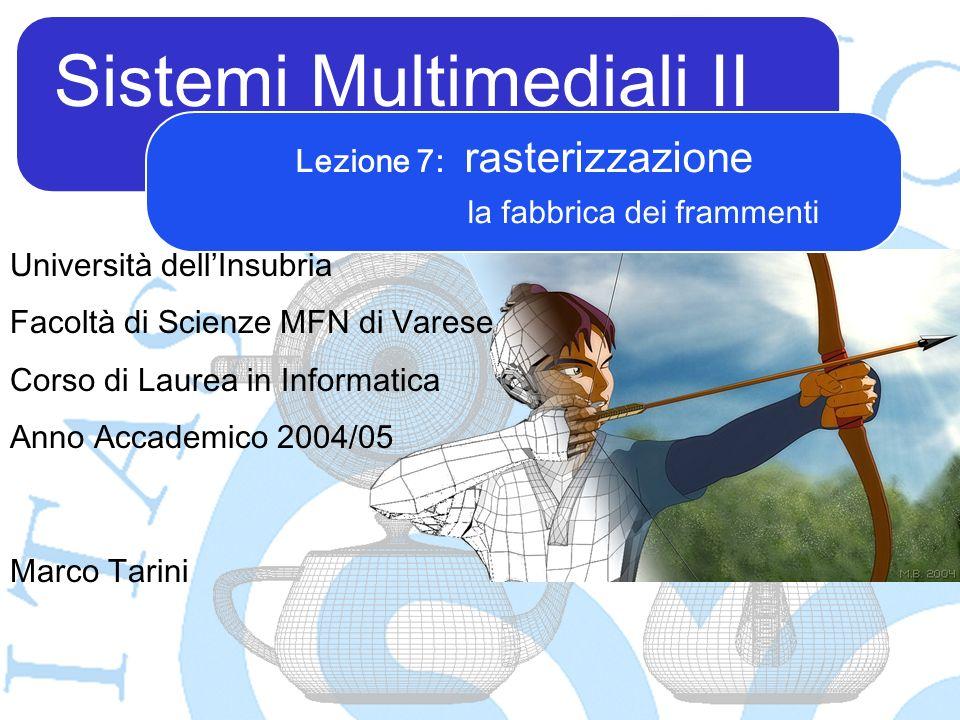 Sistemi Multimediali II Marco Tarini Università dellInsubria Facoltà di Scienze MFN di Varese Corso di Laurea in Informatica Anno Accademico 2004/05 L