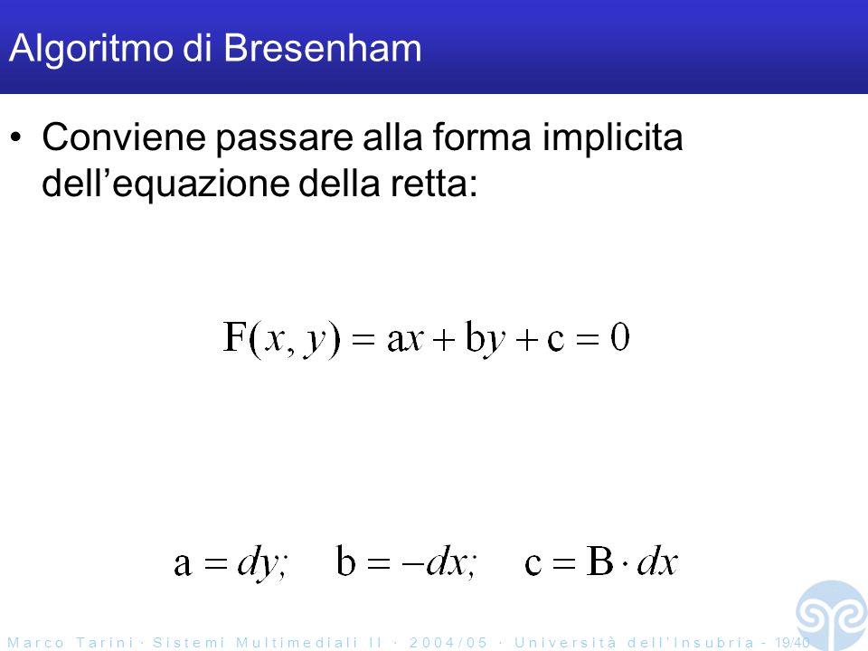 M a r c o T a r i n i S i s t e m i M u l t i m e d i a l i I I 2 0 0 4 / 0 5 U n i v e r s i t à d e l l I n s u b r i a - 19/40 Algoritmo di Bresenham Conviene passare alla forma implicita dellequazione della retta:
