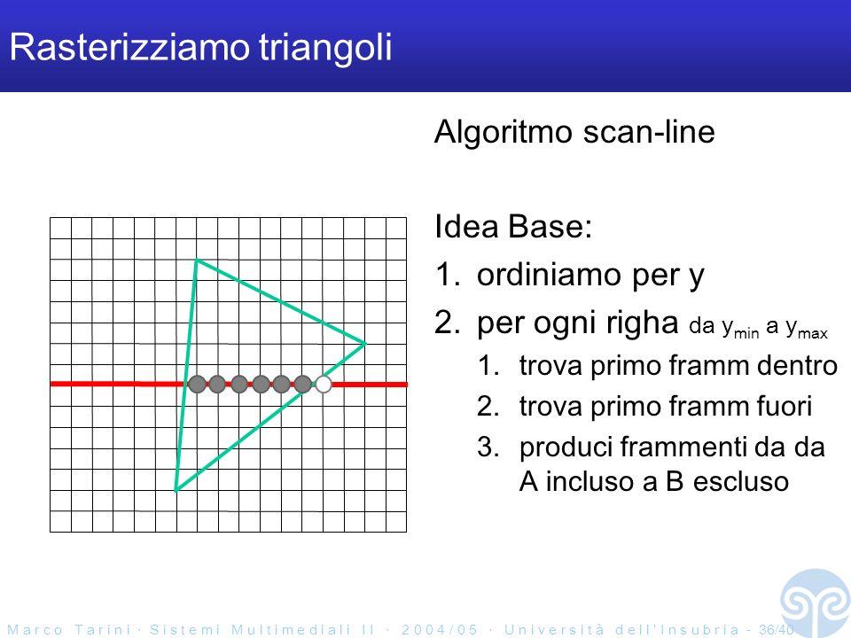 M a r c o T a r i n i S i s t e m i M u l t i m e d i a l i I I 2 0 0 4 / 0 5 U n i v e r s i t à d e l l I n s u b r i a - 36/40 Rasterizziamo triangoli Algoritmo scan-line Idea Base: 1.ordiniamo per y 2.per ogni righa da y min a y max 1.trova primo framm dentro 2.trova primo framm fuori 3.produci frammenti da da A incluso a B escluso