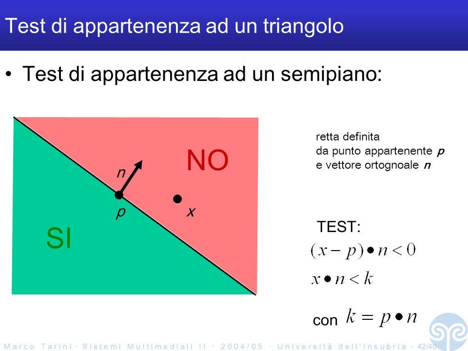 M a r c o T a r i n i S i s t e m i M u l t i m e d i a l i I I 2 0 0 4 / 0 5 U n i v e r s i t à d e l l I n s u b r i a - 42/40 Test di appartenenza ad un triangolo Test di appartenenza ad un semipiano: SI NO p n x con TEST: retta definita da punto appartenente p e vettore ortognoale n