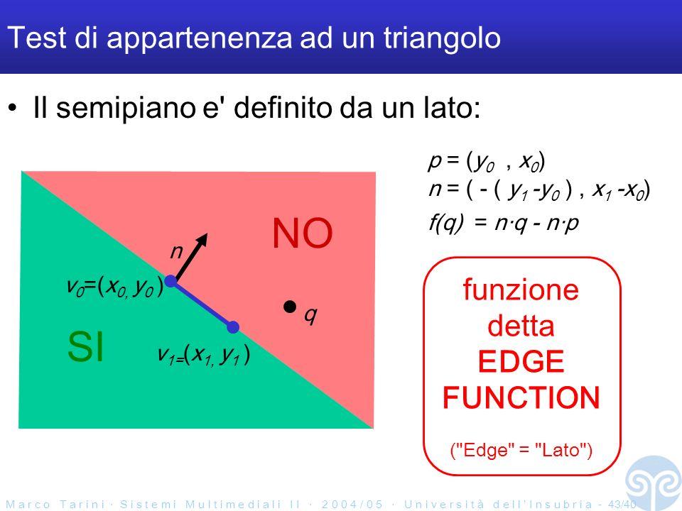 M a r c o T a r i n i S i s t e m i M u l t i m e d i a l i I I 2 0 0 4 / 0 5 U n i v e r s i t à d e l l I n s u b r i a - 43/40 SI NO Test di appartenenza ad un triangolo Il semipiano e definito da un lato: v 0 =(x 0, y 0 ) n v 1= (x 1, y 1 ) q funzione detta EDGE FUNCTION ( Edge = Lato ) n = ( - ( y 1 -y 0 ), x 1 -x 0 ) p = (y 0, x 0 ) f(q) = nq - np