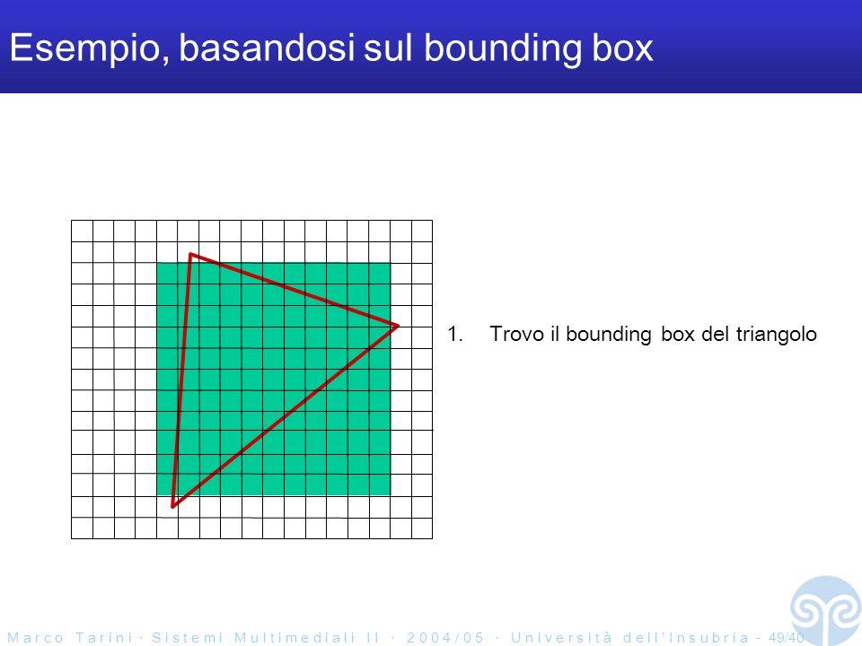 M a r c o T a r i n i S i s t e m i M u l t i m e d i a l i I I 2 0 0 4 / 0 5 U n i v e r s i t à d e l l I n s u b r i a - 49/40 Esempio, basandosi sul bounding box 1.Trovo il bounding box del triangolo