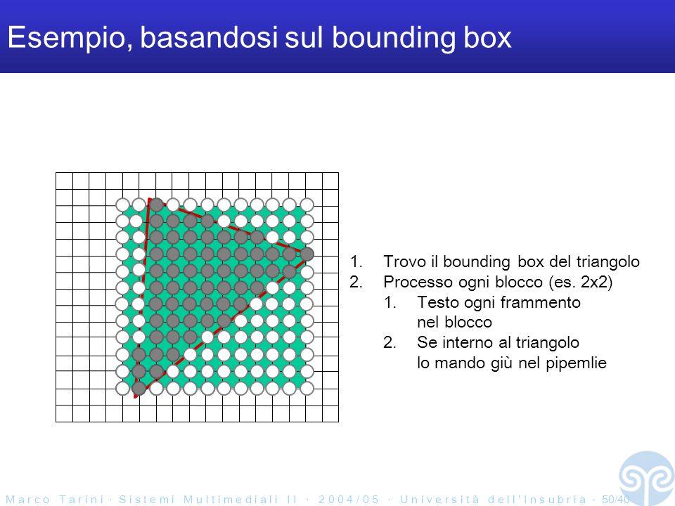 M a r c o T a r i n i S i s t e m i M u l t i m e d i a l i I I 2 0 0 4 / 0 5 U n i v e r s i t à d e l l I n s u b r i a - 50/40 Esempio, basandosi sul bounding box 1.Trovo il bounding box del triangolo 2.Processo ogni blocco (es.