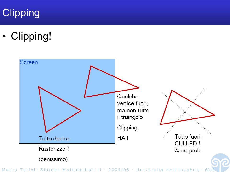 M a r c o T a r i n i S i s t e m i M u l t i m e d i a l i I I 2 0 0 4 / 0 5 U n i v e r s i t à d e l l I n s u b r i a - 52/40 Clipping Clipping.