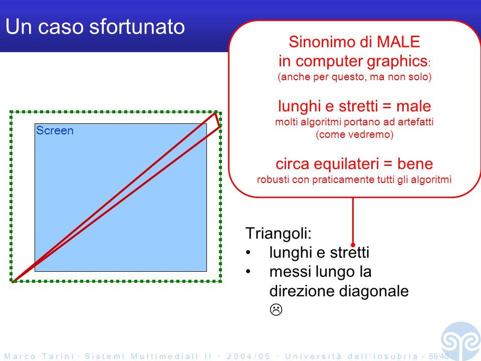M a r c o T a r i n i S i s t e m i M u l t i m e d i a l i I I 2 0 0 4 / 0 5 U n i v e r s i t à d e l l I n s u b r i a - 59/40 Un caso sfortunato Screen Triangoli: lunghi e stretti messi lungo la direzione diagonale Sinonimo di MALE in computer graphics : (anche per questo, ma non solo) lunghi e stretti = male molti algoritmi portano ad artefatti (come vedremo) circa equilateri = bene robusti con praticamente tutti gli algoritmi