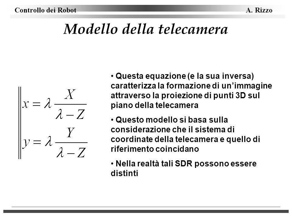 Controllo dei Robot A. Rizzo Modello della telecamera Questa equazione (e la sua inversa) caratterizza la formazione di unimmagine attraverso la proie