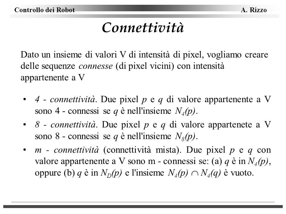 Controllo dei Robot A. Rizzo Connettività 4 - connettività. Due pixel p e q di valore appartenente a V sono 4 - connessi se q è nell'insieme N 4 (p).