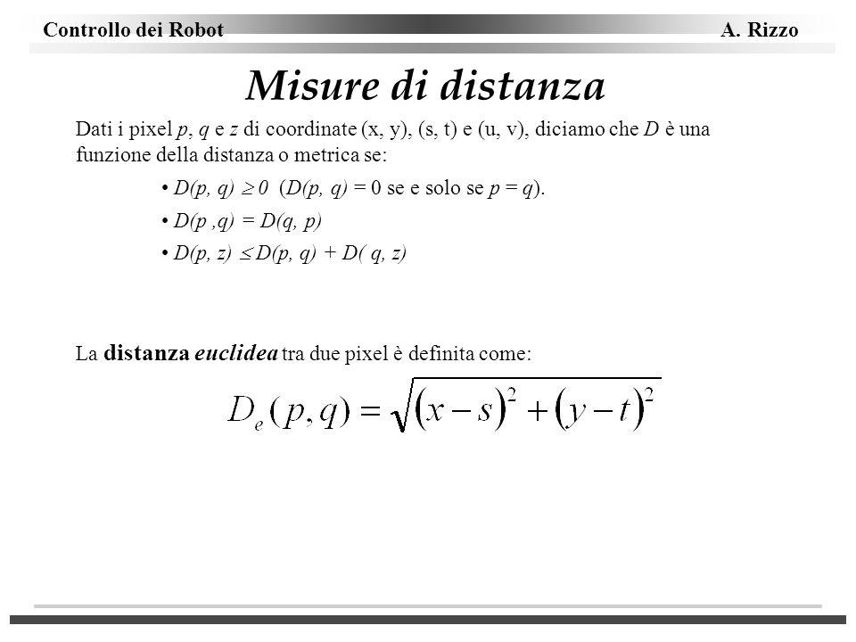 Controllo dei Robot A. Rizzo Misure di distanza Dati i pixel p, q e z di coordinate (x, y), (s, t) e (u, v), diciamo che D è una funzione della distan