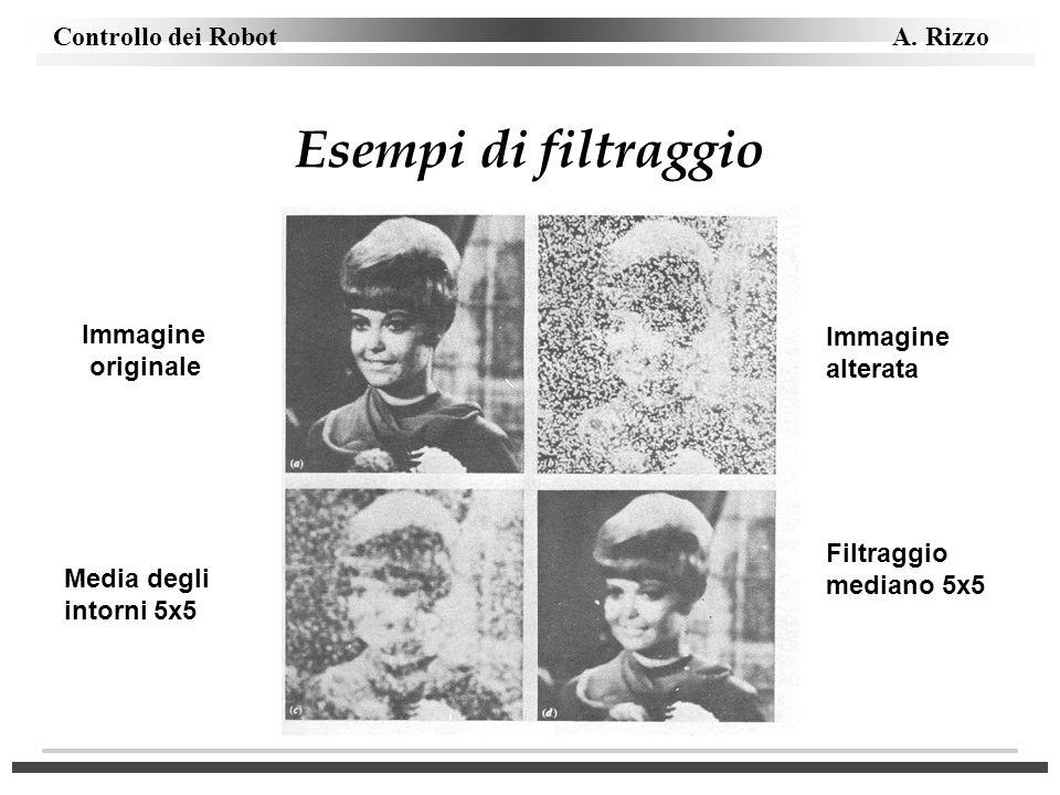 Controllo dei Robot A. Rizzo Esempi di filtraggio Immagine originale Immagine alterata Media degli intorni 5x5 Filtraggio mediano 5x5