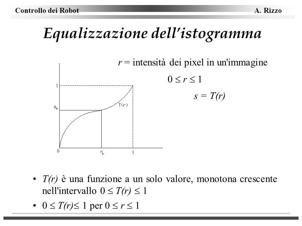 Controllo dei Robot A. Rizzo Equalizzazione dellistogramma s = T(r) r = intensità dei pixel in un'immagine 0 r 1 T(r) è una funzione a un solo valore,