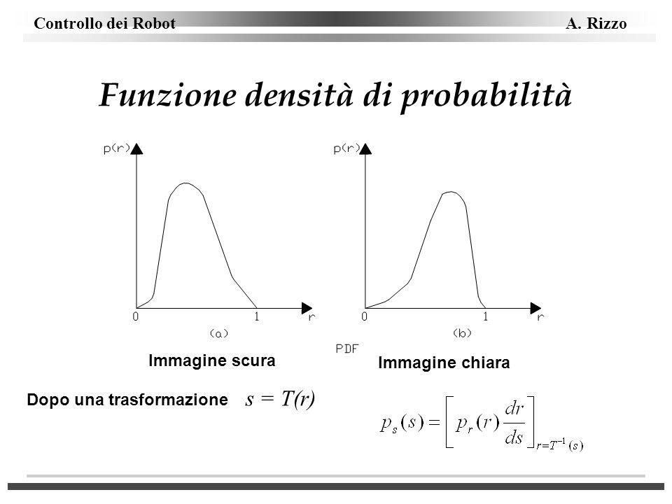 Controllo dei Robot A. Rizzo Funzione densità di probabilità Immagine scura Immagine chiara Dopo una trasformazione s = T(r)