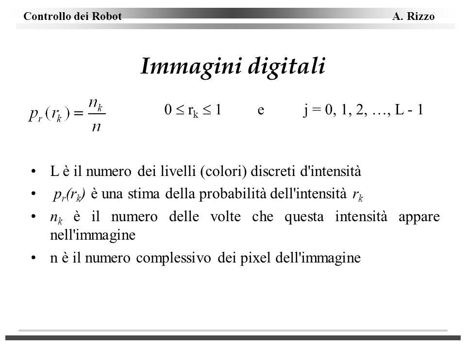 Controllo dei Robot A. Rizzo Immagini digitali 0 r k 1 ej = 0, 1, 2, …, L - 1 L è il numero dei livelli (colori) discreti d'intensità p r (r k ) è una