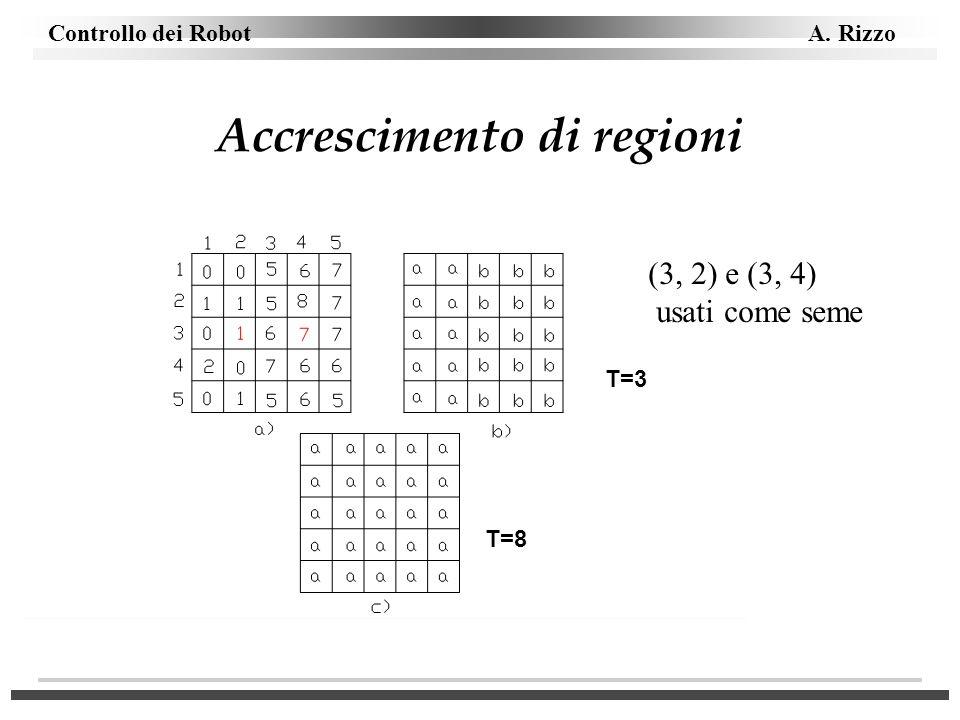 Controllo dei Robot A. Rizzo Accrescimento di regioni (3, 2) e (3, 4) usati come seme T=3 T=8