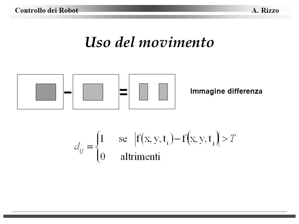 Controllo dei Robot A. Rizzo Uso del movimento Immagine differenza