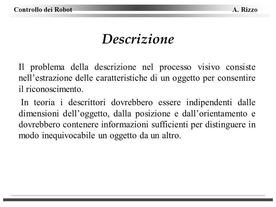Controllo dei Robot A. Rizzo Descrizione Il problema della descrizione nel processo visivo consiste nellestrazione delle caratteristiche di un oggetto