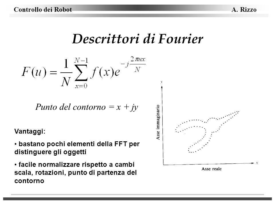 Controllo dei Robot A. Rizzo Descrittori di Fourier Punto del contorno = x + jy Vantaggi: bastano pochi elementi della FFT per distinguere gli oggetti