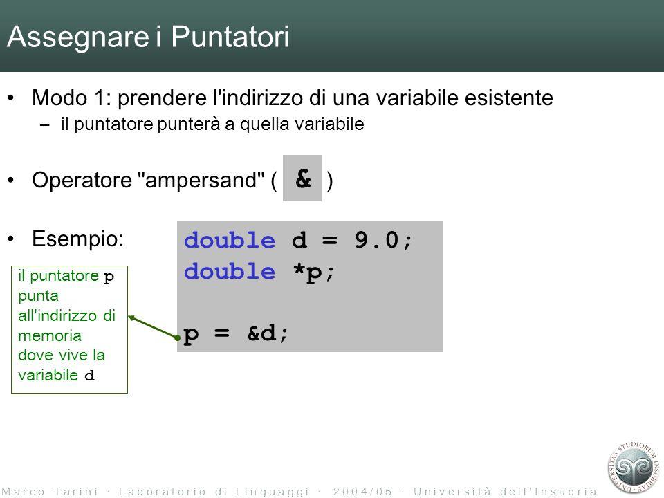 M a r c o T a r i n i L a b o r a t o r i o d i L i n g u a g g i 2 0 0 4 / 0 5 U n i v e r s i t à d e l l I n s u b r i a Assegnare i Puntatori Modo 1: prendere l indirizzo di una variabile esistente –il puntatore punterà a quella variabile Operatore ampersand ( ) Esempio: & double d = 9.0; double *p; p = &d; il puntatore p punta all indirizzo di memoria dove vive la variabile d