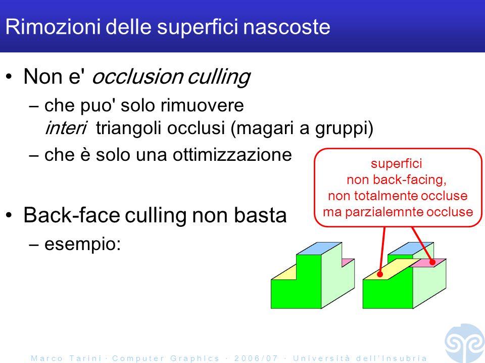 M a r c o T a r i n i C o m p u t e r G r a p h I c s 2 0 0 6 / 0 7 U n i v e r s i t à d e l l I n s u b r i a Rimozioni delle superfici nascoste Non e occlusion culling –che puo solo rimuovere interi triangoli occlusi (magari a gruppi) –che è solo una ottimizzazione Back-face culling non basta –esempio: superfici non back-facing, non totalmente occluse ma parzialemnte occluse