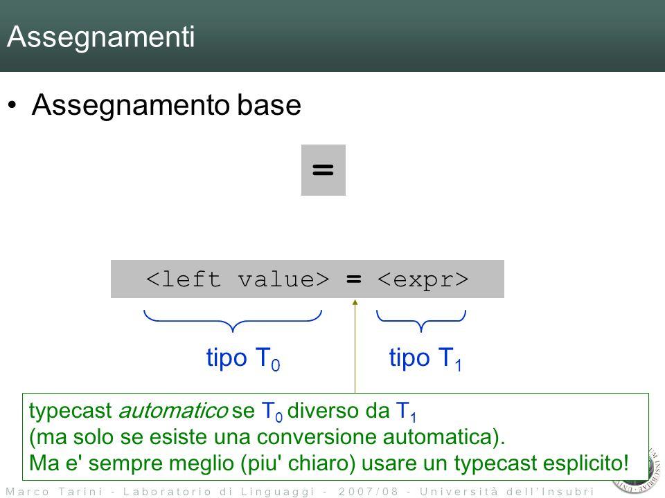 M a r c o T a r i n i - L a b o r a t o r i o d i L i n g u a g g i - 2 0 0 7 / 0 8 - U n i v e r s i t à d e l l I n s u b r i a Assegnamenti Assegnamento base = = tipo T 0 tipo T 1 typecast automatico se T 0 diverso da T 1 (ma solo se esiste una conversione automatica).