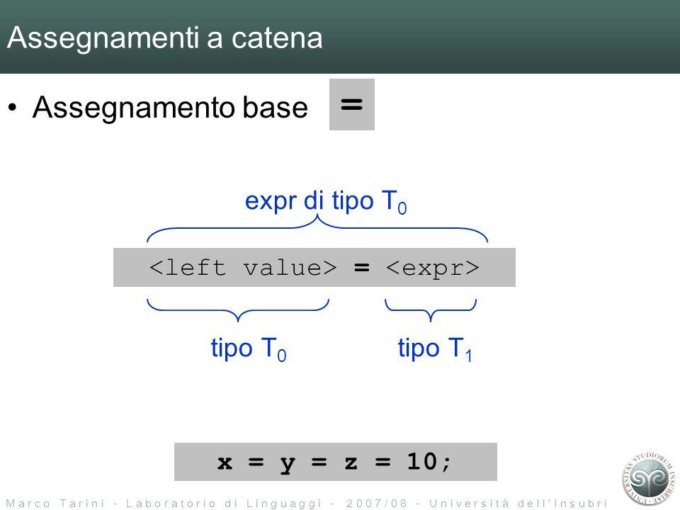M a r c o T a r i n i - L a b o r a t o r i o d i L i n g u a g g i - 2 0 0 7 / 0 8 - U n i v e r s i t à d e l l I n s u b r i a Assegnamenti a catena Assegnamento base = = tipo T 0 tipo T 1 expr di tipo T 0 x = y = z = 10;