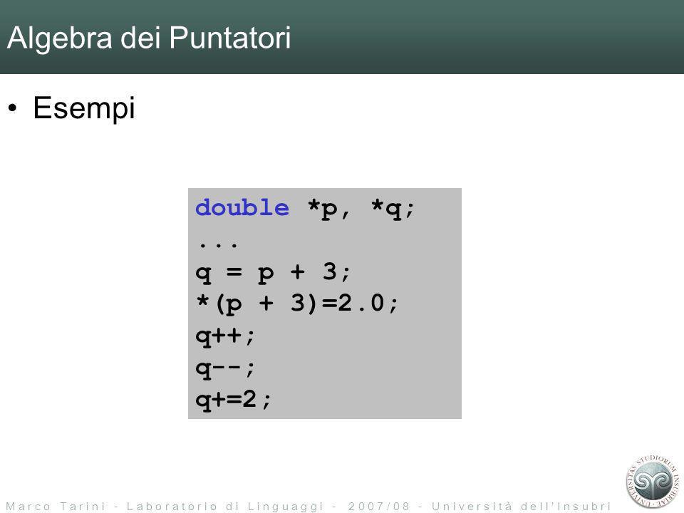 M a r c o T a r i n i - L a b o r a t o r i o d i L i n g u a g g i - 2 0 0 7 / 0 8 - U n i v e r s i t à d e l l I n s u b r i a Algebra dei Puntatori Esempi double *p, *q;...