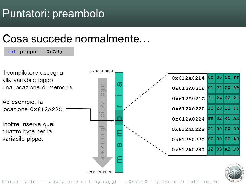 M a r c o T a r i n i - L a b o r a t o r i o d i L i n g u a g g i - 2 0 0 7 / 0 8 - U n i v e r s i t à d e l l I n s u b r i a Puntatori: preambolo Cosa succede normalmente… int pippo = 0xA0; 0x00000000 0xFFFFFFFF il compilatore assegna alla variabile pippo una locazione di memoria.