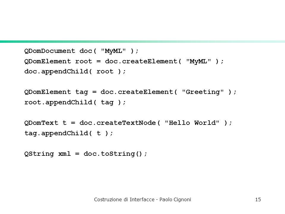 Costruzione di Interfacce - Paolo Cignoni15 QDomDocument doc( MyML ); QDomElement root = doc.createElement( MyML ); doc.appendChild( root ); QDomElement tag = doc.createElement( Greeting ); root.appendChild( tag ); QDomText t = doc.createTextNode( Hello World ); tag.appendChild( t ); QString xml = doc.toString();
