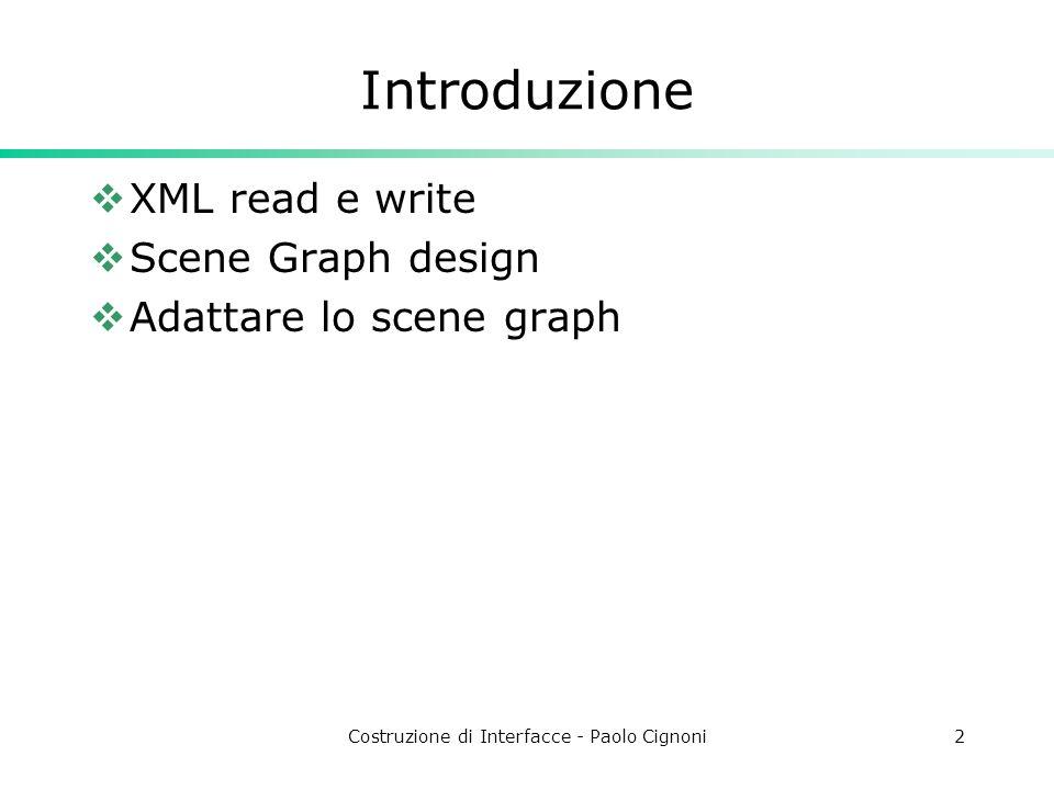 Costruzione di Interfacce - Paolo Cignoni2 Introduzione XML read e write Scene Graph design Adattare lo scene graph