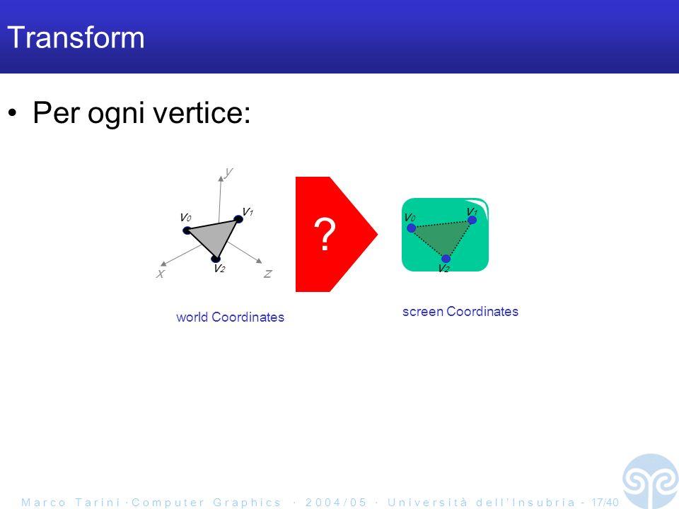 M a r c o T a r i n i C o m p u t e r G r a p h i c s 2 0 0 4 / 0 5 U n i v e r s i t à d e l l I n s u b r i a - 17/40 Transform x y z v0v0 v1v1 v2v2 v0v0 v1v1 v2v2 world Coordinates screen Coordinates Per ogni vertice: