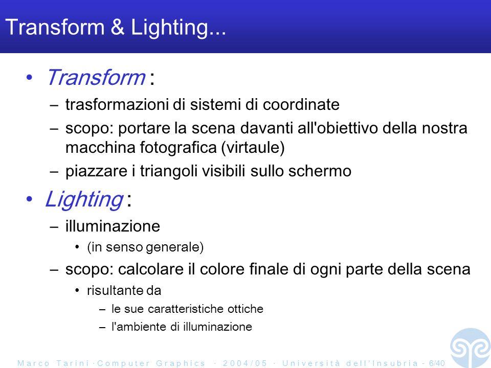 M a r c o T a r i n i C o m p u t e r G r a p h i c s 2 0 0 4 / 0 5 U n i v e r s i t à d e l l I n s u b r i a - 6/40 Transform & Lighting...