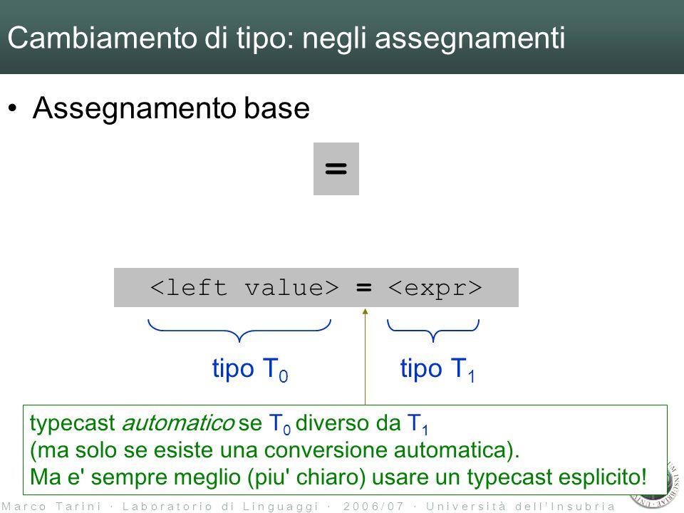 M a r c o T a r i n i L a b o r a t o r i o d i L i n g u a g g i 2 0 0 6 / 0 7 U n i v e r s i t à d e l l I n s u b r i a Cambiamento di tipo: negli assegnamenti Assegnamento base = = tipo T 0 tipo T 1 typecast automatico se T 0 diverso da T 1 (ma solo se esiste una conversione automatica).