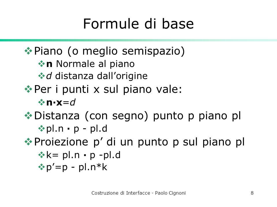 Costruzione di Interfacce - Paolo Cignoni8 Formule di base Piano (o meglio semispazio) n Normale al piano d distanza dallorigine Per i punti x sul piano vale: n·x=d Distanza (con segno) punto p piano pl pl.n · p - pl.d Proiezione p di un punto p sul piano pl k= pl.n · p -pl.d p=p - pl.n*k