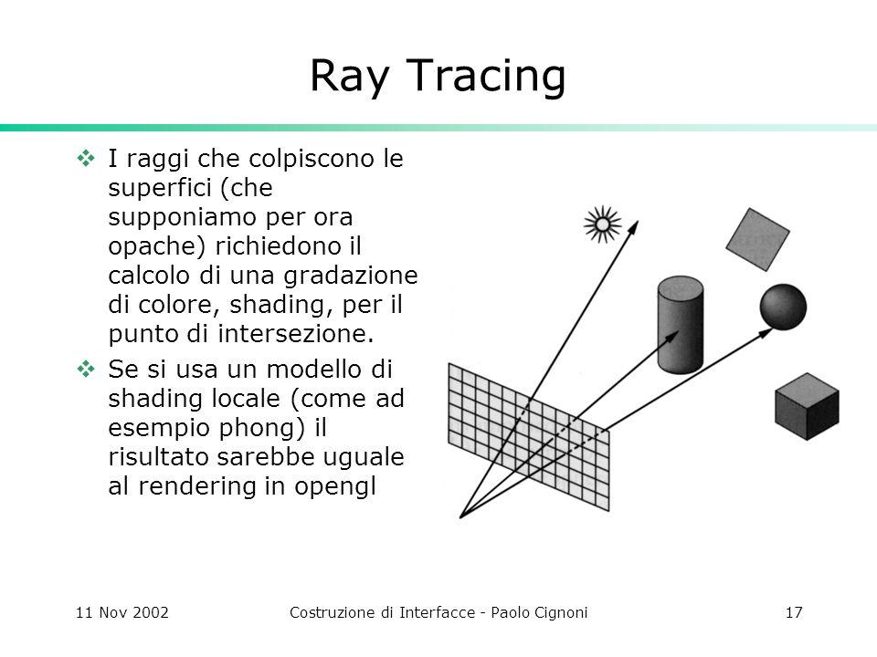 11 Nov 2002Costruzione di Interfacce - Paolo Cignoni17 Ray Tracing I raggi che colpiscono le superfici (che supponiamo per ora opache) richiedono il calcolo di una gradazione di colore, shading, per il punto di intersezione.