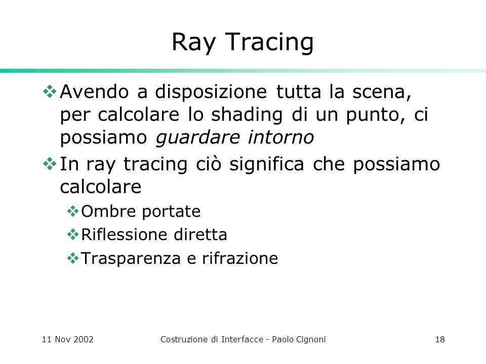 11 Nov 2002Costruzione di Interfacce - Paolo Cignoni18 Ray Tracing Avendo a disposizione tutta la scena, per calcolare lo shading di un punto, ci possiamo guardare intorno In ray tracing ciò significa che possiamo calcolare Ombre portate Riflessione diretta Trasparenza e rifrazione