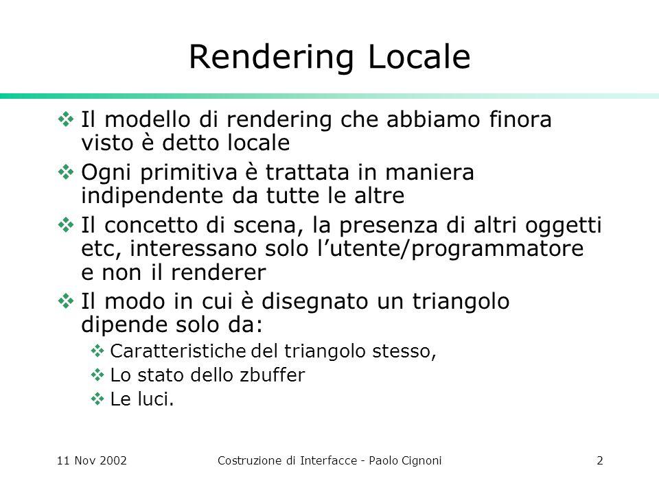 11 Nov 2002Costruzione di Interfacce - Paolo Cignoni23 Su può modellare sorgenti di luci non puntiformi utilizzando molte luci Il numero di raggi ombra aumenta e quindi aumenta anche il tempo di rendering Ray Tracing e Ombre portate