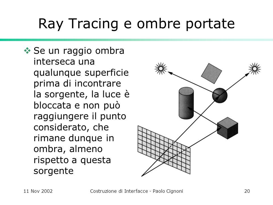 11 Nov 2002Costruzione di Interfacce - Paolo Cignoni20 Ray Tracing e ombre portate Se un raggio ombra interseca una qualunque superficie prima di incontrare la sorgente, la luce è bloccata e non può raggiungere il punto considerato, che rimane dunque in ombra, almeno rispetto a questa sorgente
