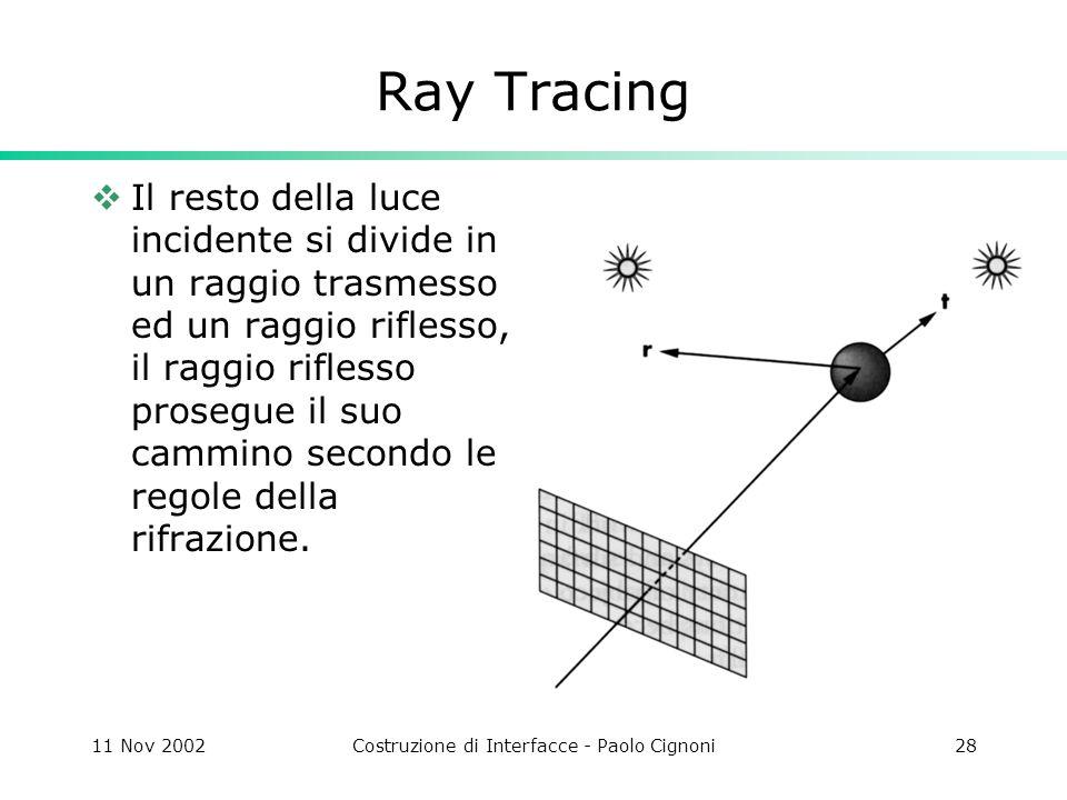 11 Nov 2002Costruzione di Interfacce - Paolo Cignoni28 Ray Tracing Il resto della luce incidente si divide in un raggio trasmesso ed un raggio riflesso, il raggio riflesso prosegue il suo cammino secondo le regole della rifrazione.