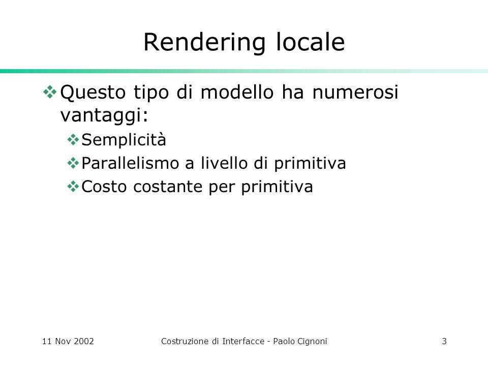 11 Nov 2002Costruzione di Interfacce - Paolo Cignoni14 Ray Tracing Mentre non è possibile seguire la traiettoria di ciascun raggio possiamo determinare i raggi che contribuiscono allimmagine se invertiamo la traiettoria dei raggi, e consideriamo solo quelli che partono dalla posizione dellosservatore