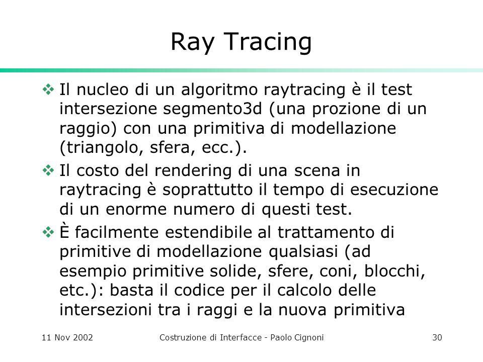 11 Nov 2002Costruzione di Interfacce - Paolo Cignoni30 Ray Tracing Il nucleo di un algoritmo raytracing è il test intersezione segmento3d (una prozione di un raggio) con una primitiva di modellazione (triangolo, sfera, ecc.).